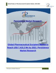Global Study on Pharmaceutical Excipients Market, 2015-2021