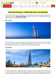 Dubai Tour Packages – A Sightseeing Trip at Your Fingertips