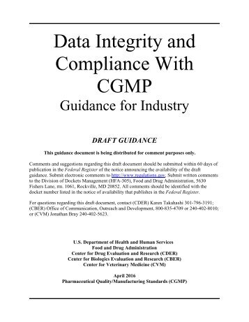 Data Integrity and Compliance With CGMP
