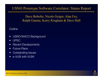 USNO Prototype Software Correlator: Status Report - CIRA