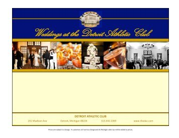 Wedding Menus - Detroit Athletic Club