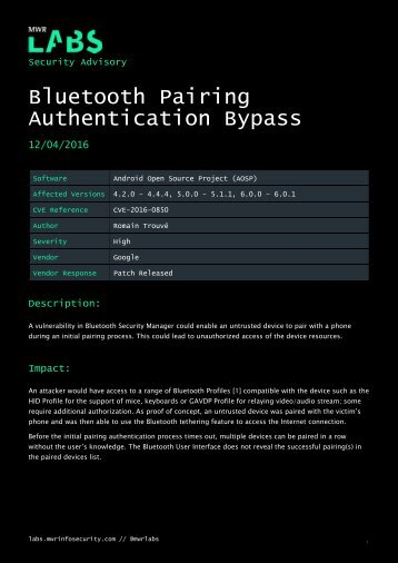Bluetooth Pairing Authentication Bypass