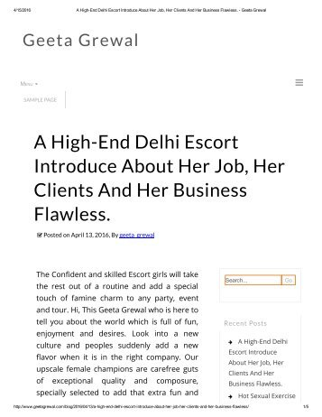 A High-End Delhi Escort Introduce About Her Job, Her Clients And Her Business Flawless