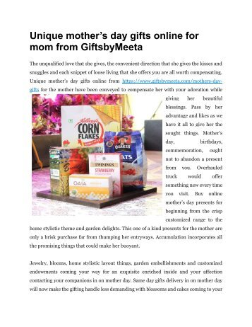 Send Unique mother's day gifts online for mom from GiftsbyMeeta