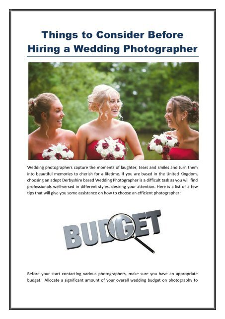 Things to Consider before hiring a wedding photographer