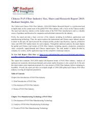 Chinese PAN Fiber Industry Size, Share and Research Report 2015 Radiant Insights, Inc