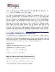 Chinese Polylactice Acid Industry Growth, Trend, Forecast & Research Report 2015 Radiant Insights, Inc