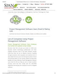 Purchase Tele Verified List of Project Management Software User Lists from Span Global Services