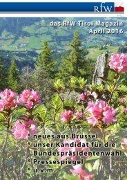 RfW Tirol Magazin 02, April 2016