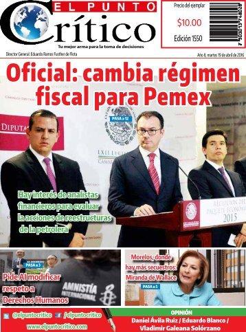 Oficial cambia régimen fiscal para Pemex
