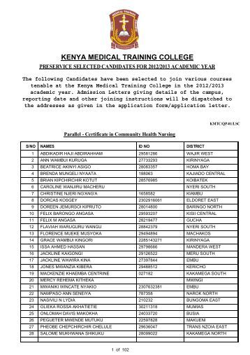 pre-service selected candidates 2012-2013 - KMTC
