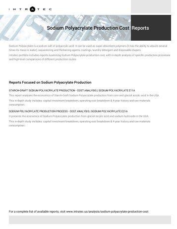 Sodium Polyacrylate Plant Cost