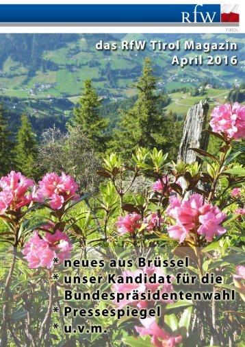 RfW Tirol Magazin April 2016