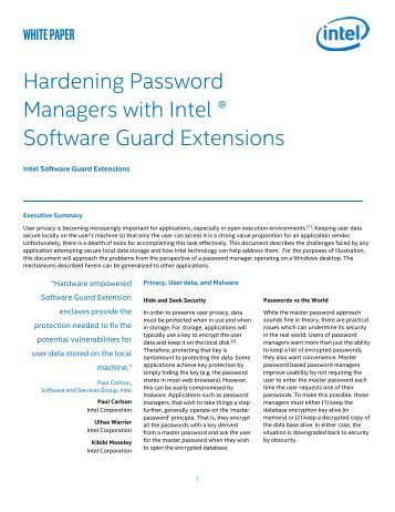 Hardening Password Managers with Intel ® Software Guard Extensions