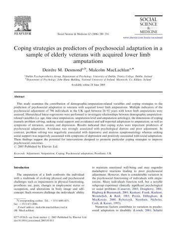 Coping strategies as predictors of psychosocial adaptation in a ...