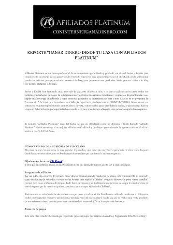 """REPORTE """"GANAR DINERO DESDE TU CASA CON AFILIADOS PLATINUM"""""""