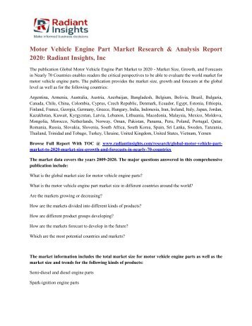 Motor Vehicle Engine Part Market Research & Analysis Report 2020 Radiant Insights, Inc