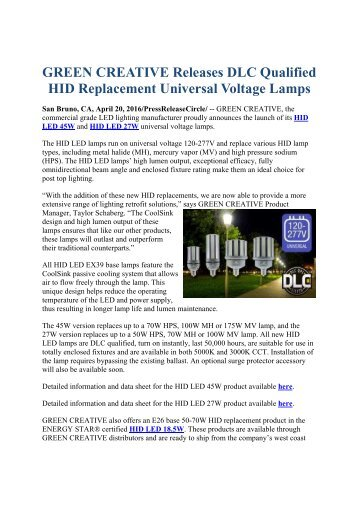 GREEN CREATIVE Releases DLC Qualified HID Replacement Universal Voltage Lamps