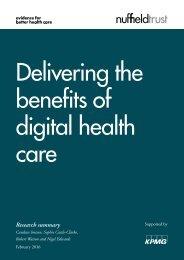 Delivering the benefits of digital health care