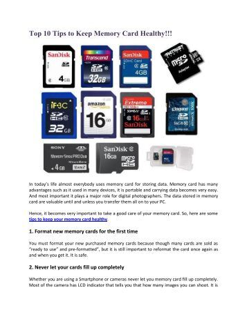 Top 10 Tips to Keep Memory Card Healthy!!!