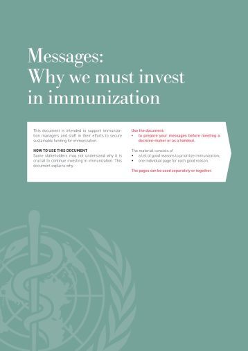 Messages Why we must invest in immunization