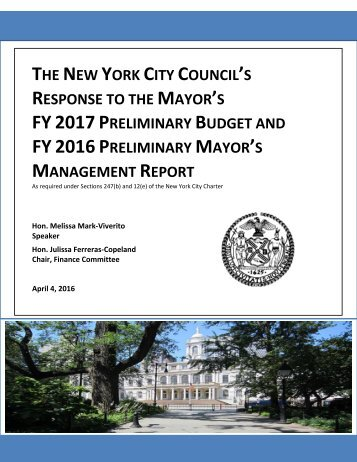 FY 2017 PRELIMINARY BUDGET FY 2016 PRELIMINARY MAYOR'S MANAGEMENT REPORT