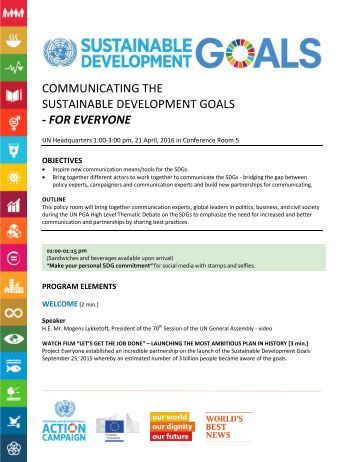 COMMUNICATING THE SUSTAINABLE DEVELOPMENT GOALS - FOR EVERYONE