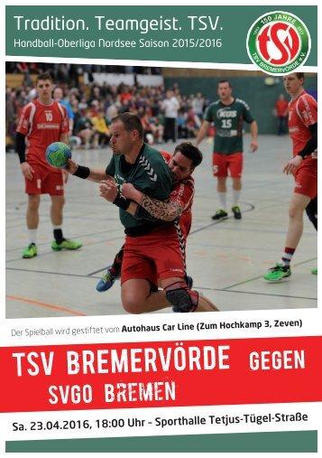 Hallenheft TSV Bremervörde gegen die SVGO Bremen am 23. April 2016