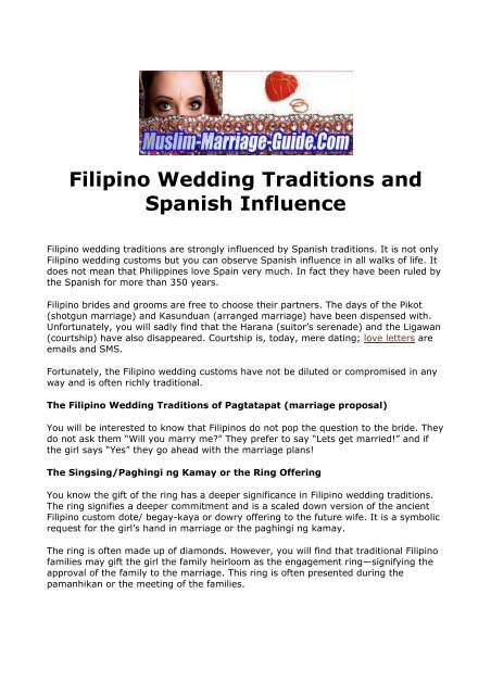 Filipino Wedding Traditions and Spanish Influence - About