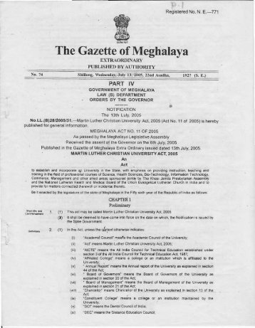 The Gazette of Meghalaya