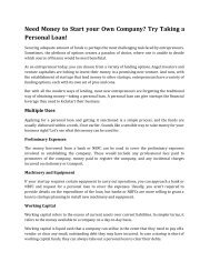 Need Money to Start your Own Company Try Taking a Personal Loan