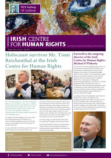 Holocaust survivor Mr Tomi Reichenthal at the Irish Centre for Human Rights