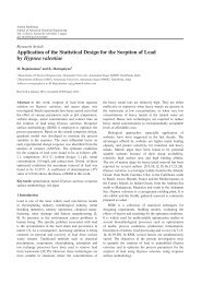 Application of the Statistical Design for the Sorption of Lead by ...
