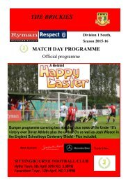 Match Day Magazine Sittingbourne v Hythe Town and Faversham Town April 2016