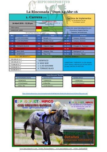 La Rinconada / Dom 24-Abr-16 1ra Carrera