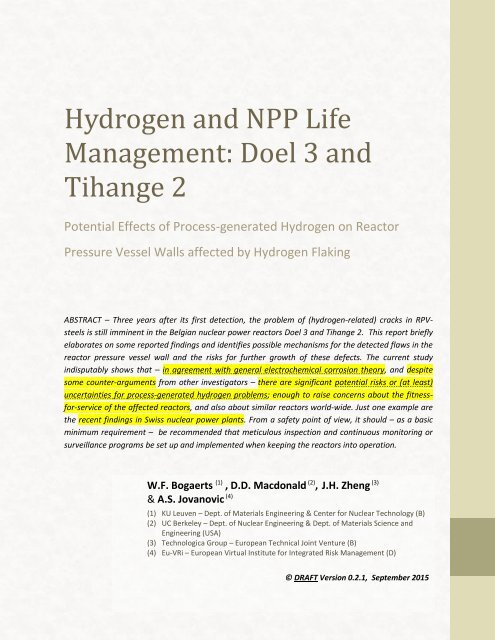 Hydrogen and NPP Life Management Doel 3 and Tihange 2