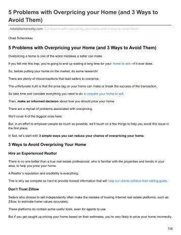 Total Atlanta Realty 5 Problems with Overpricing your Home (and 3 Ways to Avoid Them)
