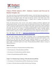 Chinese PEEK Industry 2015 - Industry Analysis and Forecast by Radiant Insights, Inc