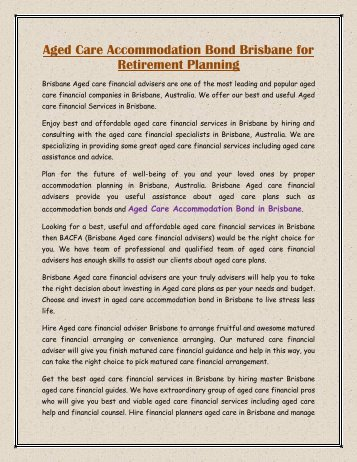 Aged Care Accommodation Bond Brisbane for Retirement Planning