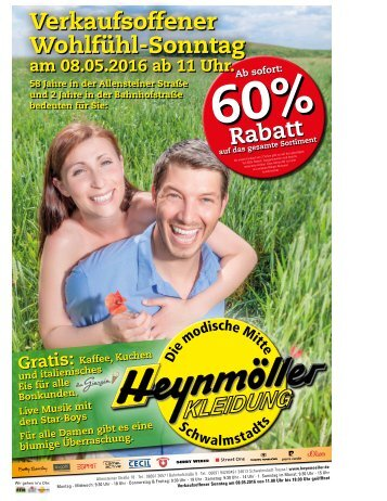 Verkaufsoffener Wohfühl-Sonntag bei Heynmöller Kleidung
