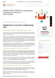 Email and Mailing List of Predictive Analytics Users