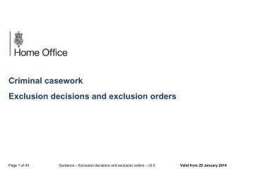 Criminal casework Exclusion decisions and exclusion orders