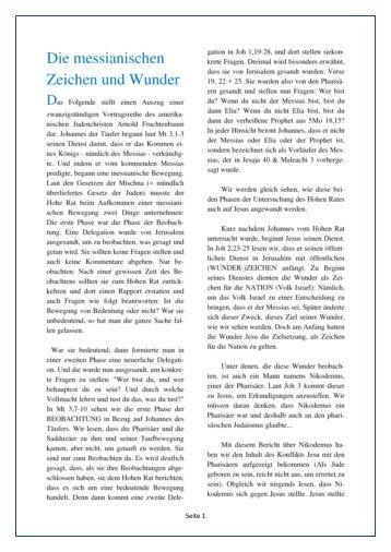 Die messianischen Zeichen und Wunder