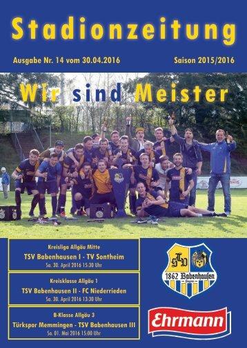 20160416 14 Stadionzeitung TSV Babenhausen - TV Sontheim