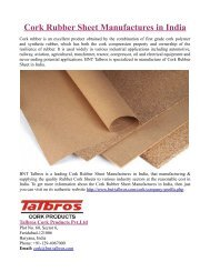 Cork Rubber Sheet Manufactures in India