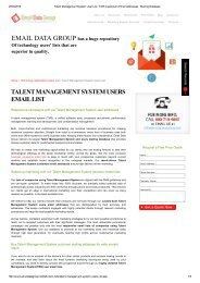 Talent Management System Users Marketing List from Email Data Group