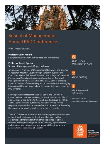 SoM Annual PhD Conference 29 April 2016
