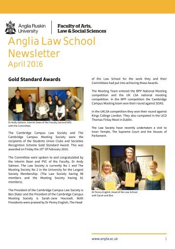Anglia Law School newsletter April 2016