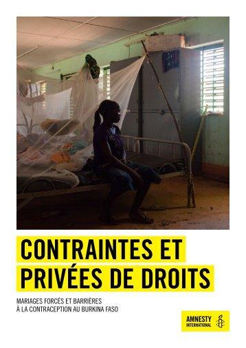 CONTRAINTES ET PRIVÉES DE DROITS