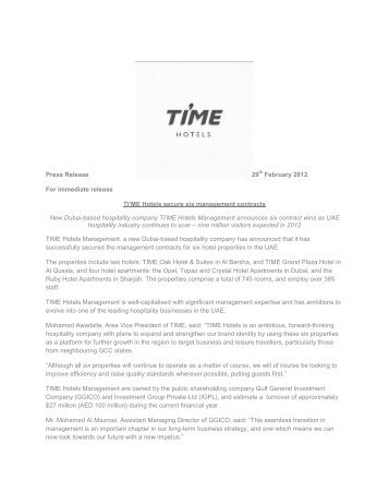 TIME Hotels press release March 2012